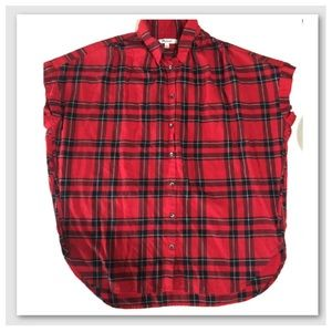 Madewell Plaid Red Top
